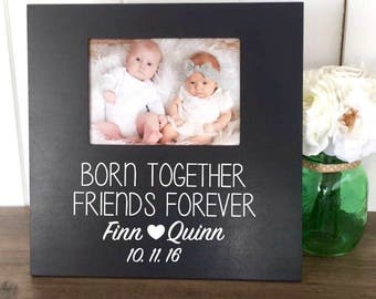 Twins Picture Frame Baby Gift Boy Girl Personalized New Shower 1st Birthday