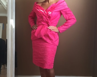 1990's Barbie Pink Off Shoulder Suit