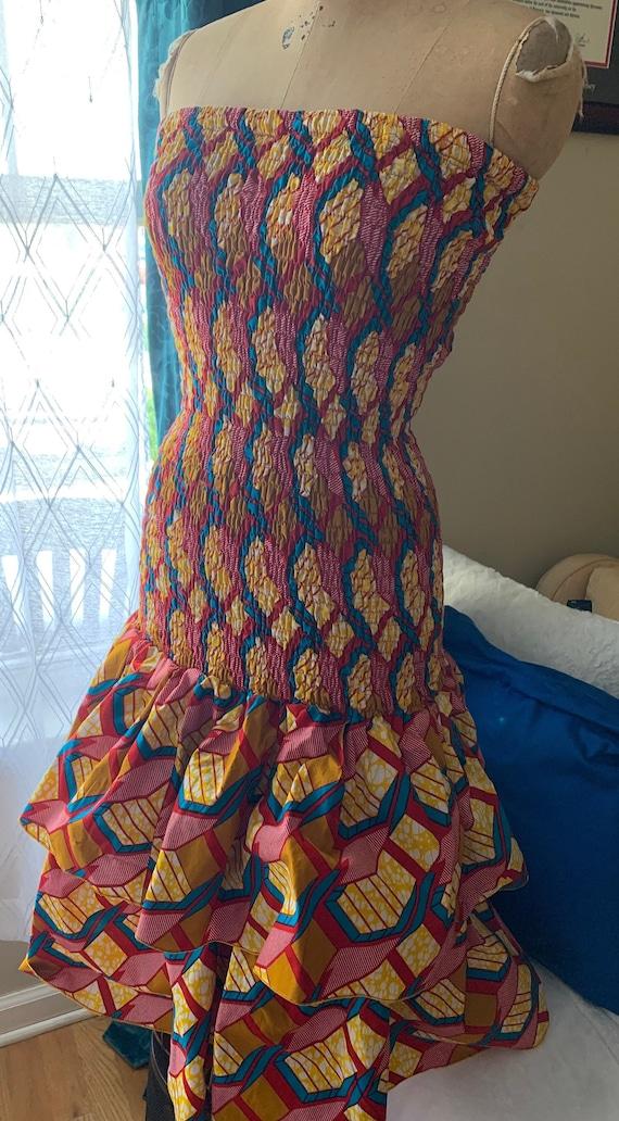 Vintage African Print Mermaid Dress