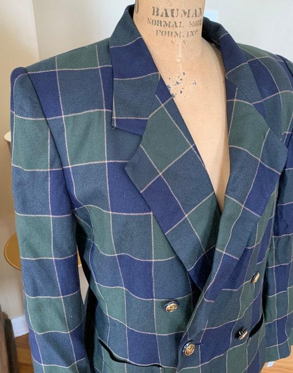 1990's Blue Plaid Blazer