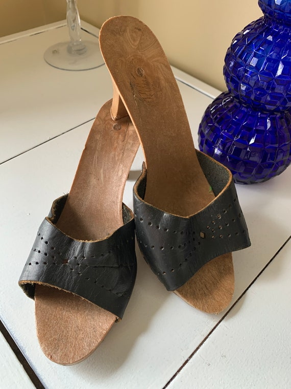 1970's Black Leather Mules