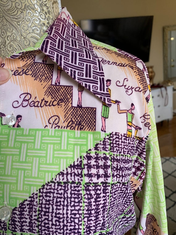 1970's Green & Purple Polyester Blouse