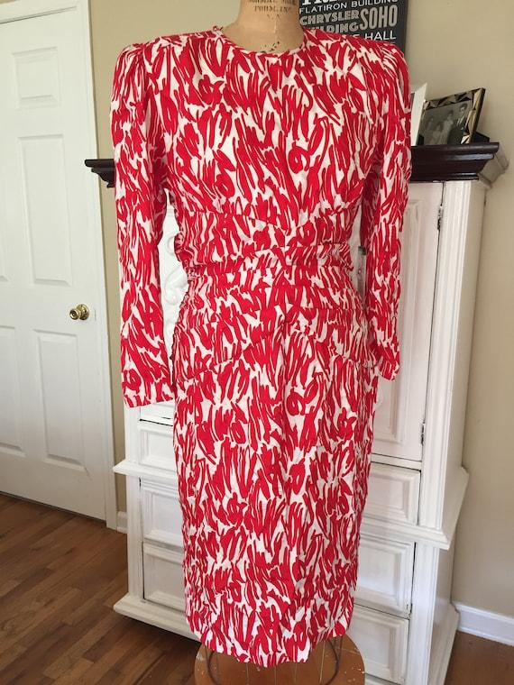 1980s Deadstock Red Silk Dress
