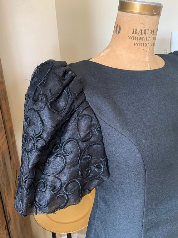 1980's Black Balloon Sleeve Midi Dress
