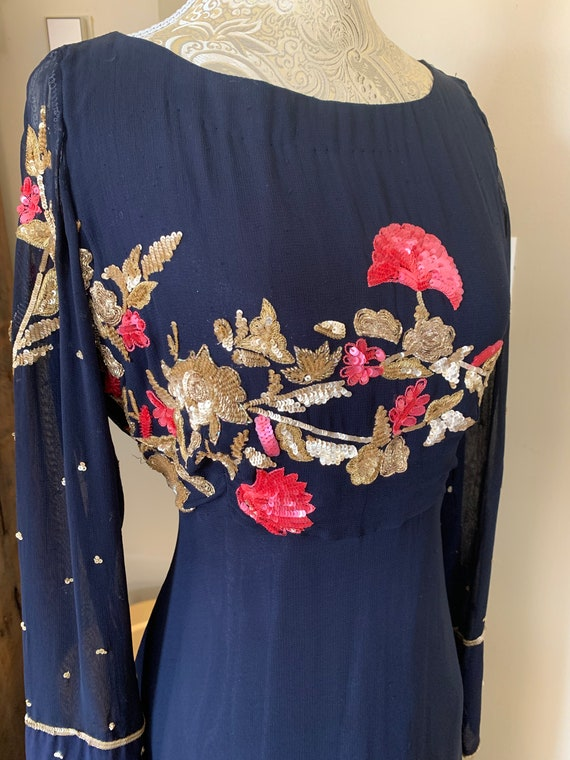 1960's Style Blue Floral Sequin Gown