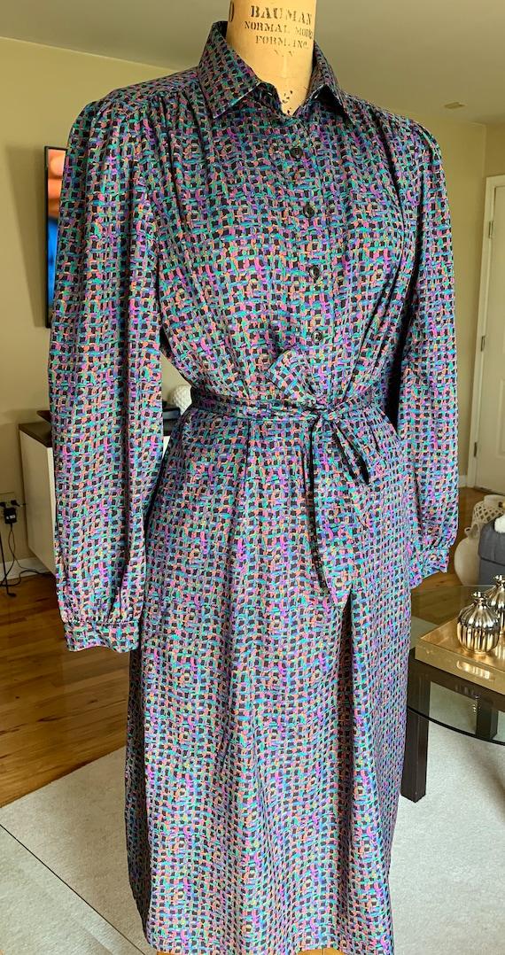 1970's Purple Print Shirt Dress - image 3