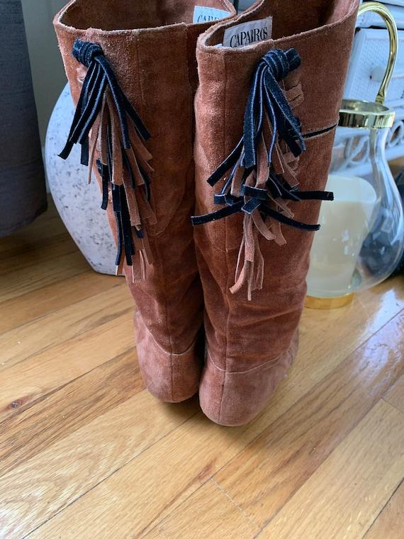1980's Beaded Fringe Leather Boots - image 4