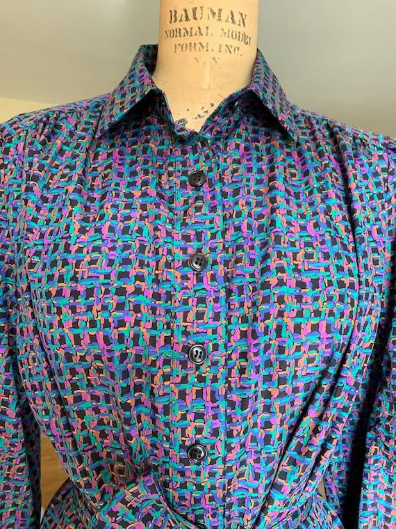 1970's Purple Print Shirt Dress - image 4