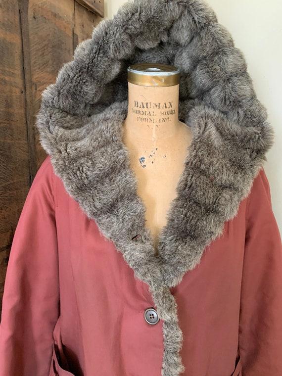 1970's Burgundy Jacket w Shag Hood