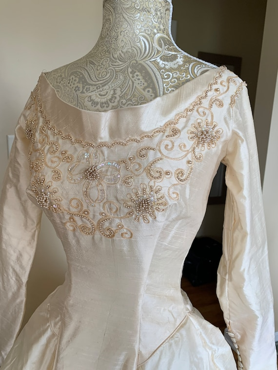 1960's Ivory Beaded Wedding Gown