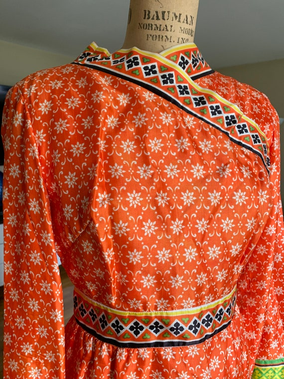 1960's Orange Floral Print Maxi w Bell Sleeves