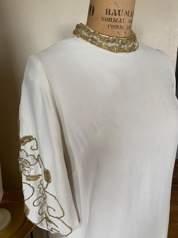 1960's Cream Mini Dress w Beaded Bishop Sleeves