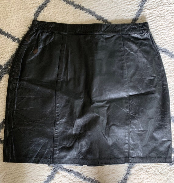 1980's Black Leather Mini Skirt
