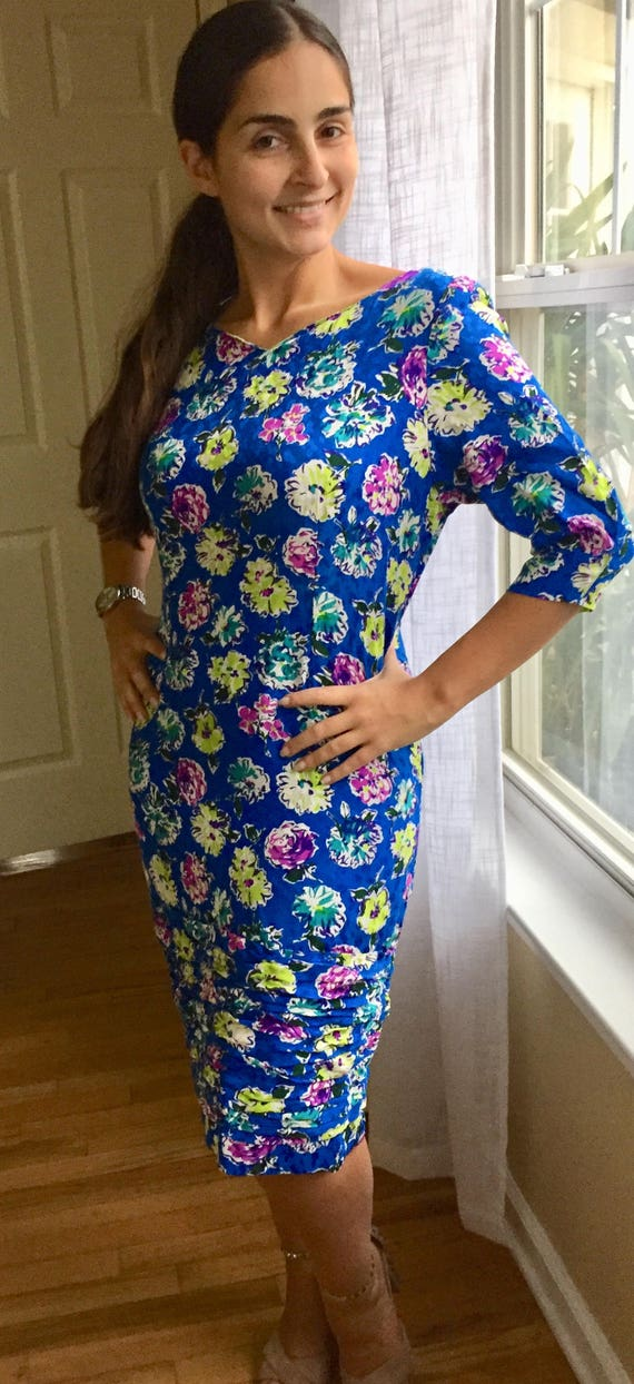 1960's Hand Stitched Ruched Floral Dress