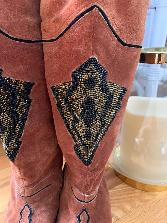 1980's Beaded Fringe Leather Boots - image 2
