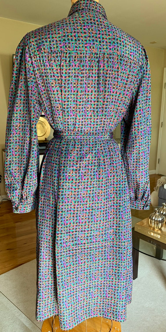 1970's Purple Print Shirt Dress - image 2