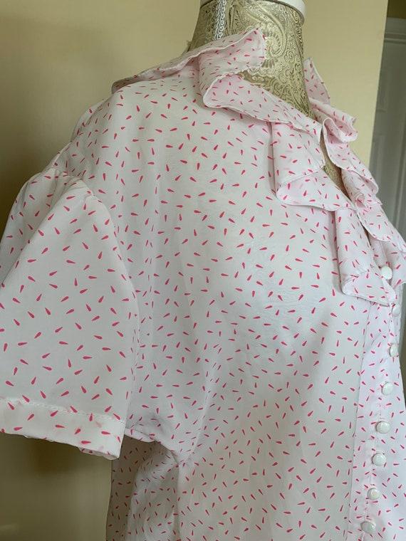 1970's White & Pink Polka Dot Ruffle Blouse