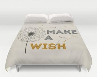 Duvet cover dandelion make a wish queen duvet king duvet cover bedroom decor bedroom golden and grey gold
