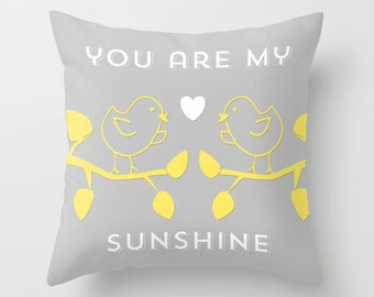 You are my sunshine nursery pillow decorative throw pillows grey yellow white pillow cover home decor ornament and decoration housewares
