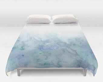 Aqua Watercolor Duvet Cover queen and king duvet cover bedroom decor bedding duvet cover watercolored