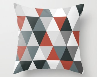 Decorative throw pillows grey black white red pillow cover home decor  housewares triangle geometric hipster triangles