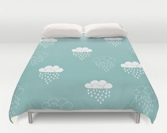 Duvet Cover clouds turquoise sky blue white rain decoration room decor queen and king duvet cover bedroom decor bedroom duvet cover