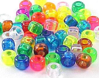 Plastic Crow Beads Lt Cerise Opaque 9mm 50 Pack