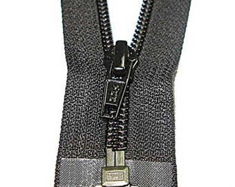 """5C Open Black Nylon Coil Finished Zipper - Multiple Lengths Available - 10"""" to 40"""""""