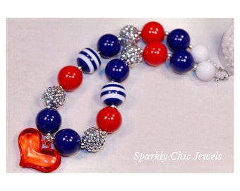 Fourth of July Inspired Chunky Necklace-American Flag Chunky Necklace-Heart 4th of July Bubblegum Necklace-4th of July-Red White Blue