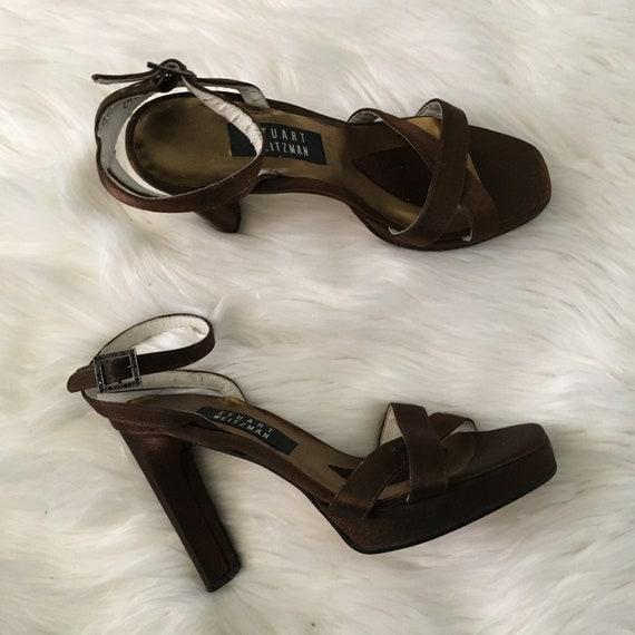 stuart weitzman bronze platform shoes - size 8 aa