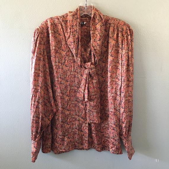 escada silk paisley pussy bow blouse - size 38