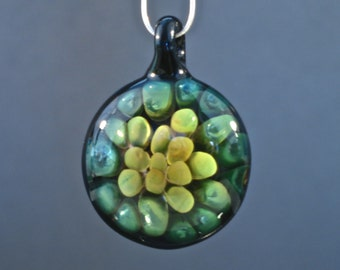 24k Gold and Silver Fumed Glass Implosion Pendant - Borosilicate Lampwork
