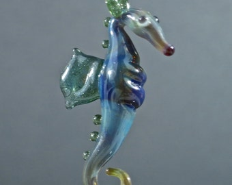 Sculpted Seahorse Glass Pendant - Blue and Sparkly Green - Borosilicate Lampwork