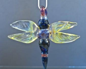 Sculpted Dragonfly Glass Poker Pendant - Borosilicate Lampwork