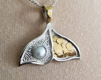 WHALE TAIL Pendant, Handcrafted in USA  Sterling & Gold nuggets