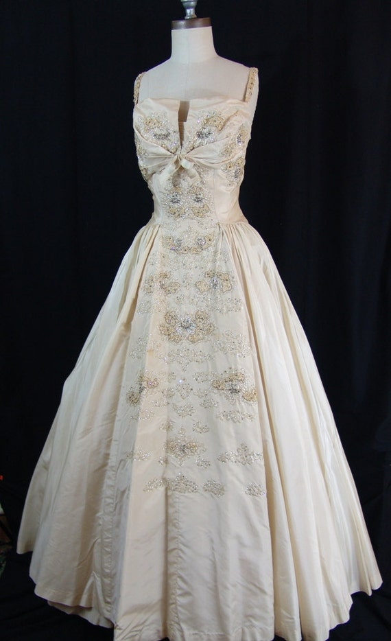 1950 Majestic Haute Couture Silk Wedding Gown