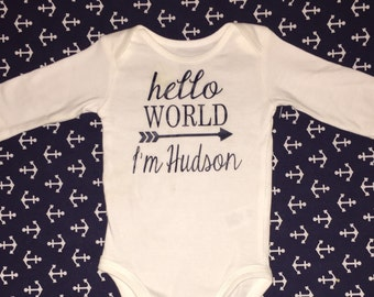 HELLO WORLD Oneise, Baby Girl Coming Home Outfit; Baby Boy Coming Home Outfit; hello world coming home onesie, hello world newborn outfit