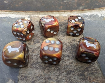 Dachshund Dice, Wiener Dog Playing Dice (Set of 6)