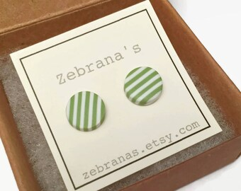 Gray-green and white striped earring studs (light green earrings, striped earrings, minimalistic studs, green stripes jewelry, circle round)