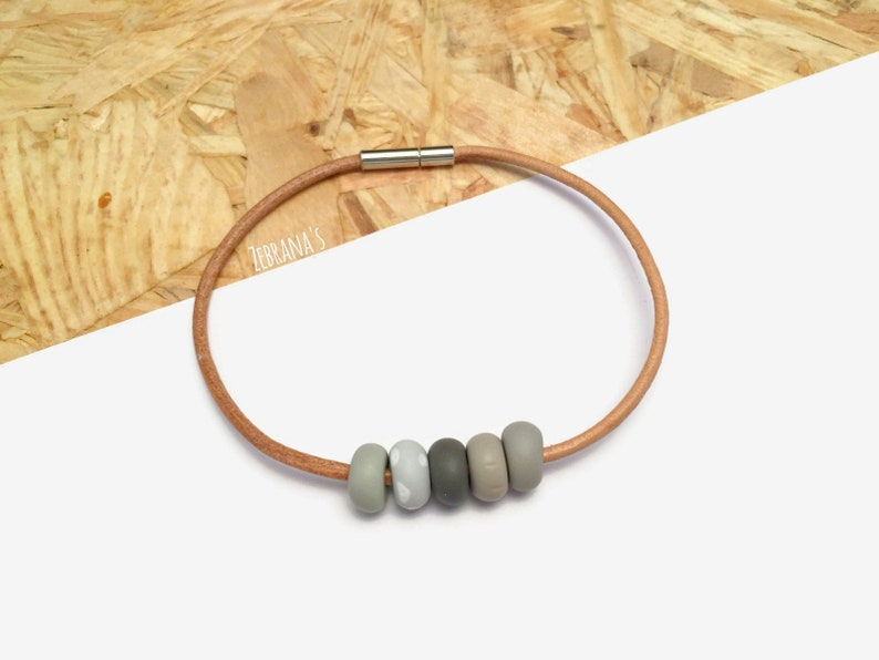 check-out dc19b b2123 Leather string bracelet (beaded bracelet femme, simple polymer clay  bracelet, bracelet for men, natural colors)