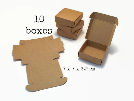 10 kraft paper box 7x7x2 2 cm mini large big gift box etsy