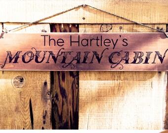 Cabin Sign, 6x24, Housewarming Gift - Mountain Art, Custom Wood Sign, Cabin Decor, New Home Gift, Mountain Cabin Decor, Knotooshabby