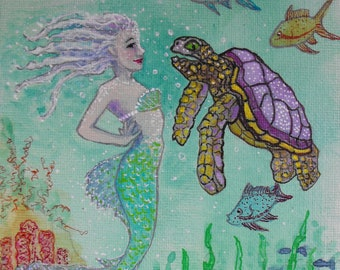 Original Mermaid art, acrylic inks on canvas board, fantasy, Mermaid and Sea Turtle, exotic fish, shells, illustration, girls room decor