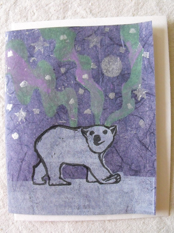 Child/'s Room Illustration Blank 5X7 All Occasion Nursery Polar Bear and Cub watercolor greeting Card Northern Lights Whimsical