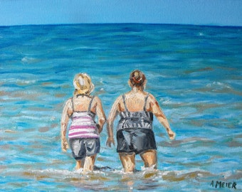 Original oil painting, impressionist, Ipperwash Beach, Lake Huron, Ontario, 11 X 14, 2 ladies cooling off