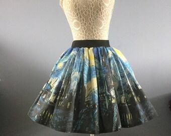 77bf56fe0b3bb Harry Potter inspired Starry Night Wizard School full skater style skirt