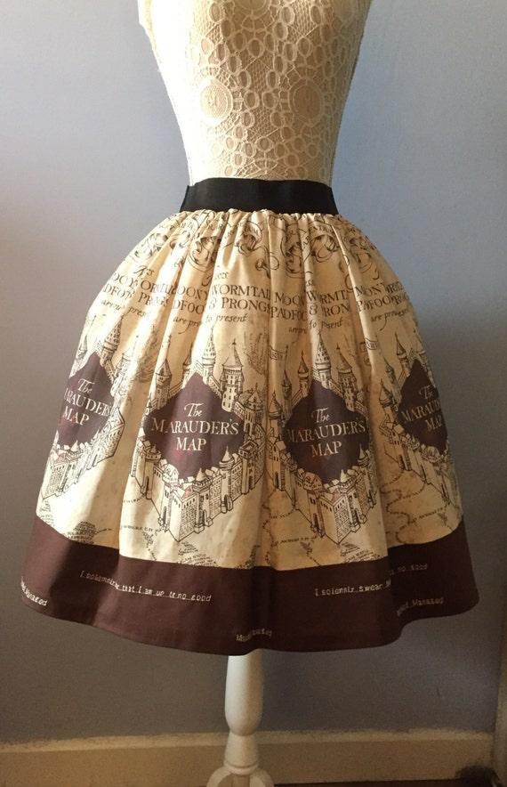 56e27c9dad47b Ladies Harry Potter inspired Magical Map tea length full skirt