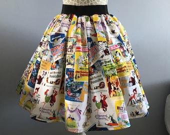 Disney inspired Movie Posters full skater style skirt