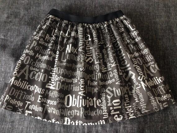 230c5d5b1e1dc Ladies or girls Harry Potter inspired Wizard Spells inspired skater style  skirt