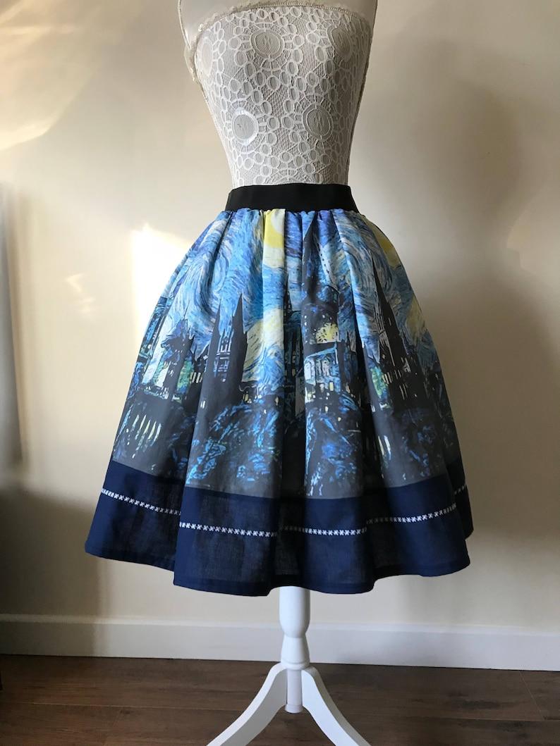 1f4d0f15f5054 Harry Potter inspired Hogwarts Starry Night tea length skirt